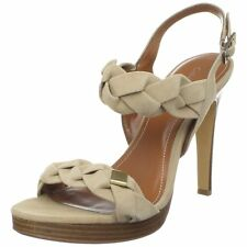 Calvin Klein Licia Kid Camel Suede E8332 High Heels Shoes Sandals NEW Platform
