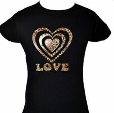 Love Heart In Animal Print Romance  Black Girls T-Shirt  Age 5-15