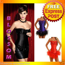 CC19 Sequin Burlesque Satin Vegas Showgirl Corset Tutu Costume