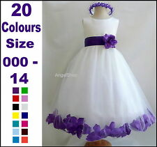 Flower Girl Dress Rose Petals Pageant Party Dress Size 000 to 14. Birthday Dress