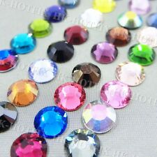 Hot fix Colors / Crystal Clear / AB 2mm 3mm 4mm 5mm Iron on Flatback Rhinestones