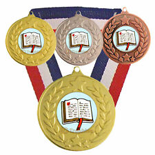 Reading Medal & Ribbon, Engraved, Reading Trophy, Academic Teacher, School Award