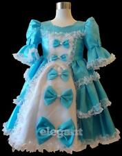 Blue Victorian Wedding Flower Girls Costumes Party Pageant Dress Gown Age 2-13