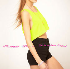 100% AUTHENTIC AMERICAN APPAREL RSABB381 NEON COLOR LOOSE CROP TANK TOP BN