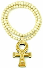 "Ankh Egyptian Cross Positive Life New Wood Pendant Necklace And 36"" Bead Chain"