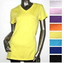 Women/Junior Plus Size Plain Basic Short Sleeve V-neck T-Shirts Solid Cotton Top