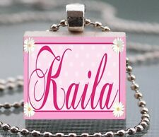 Custom Name Scrabble Tile Pendant Handcrafted Flower Frame Personalized Charm 01