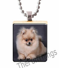 Pomeranian Puppy Scrabble Tile Pendant Handcrafted Recycled Tile Jewelry Dog 10