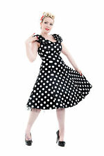 1950's Vintage Classic Big Polka Dot Shawl Collar Rockabilly Tea Dress New 8-18