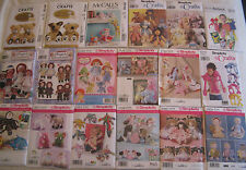 Stuffed Animals~Dolls & Clothes Sewing Patterns~Raggedy Ann,Bears,Cat,Dog & More