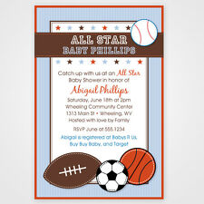 Little All Star Sport Baby Shower or Birthday Invitations - Set of 10