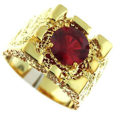 Rampart  Ruby Red Stone 18Kt Gold EP Mens Nugget Ring
