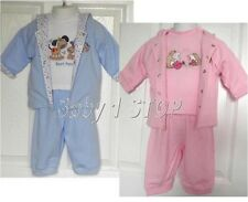 Babys Hooded Jacket Top & Bottoms 3 Piece Set Boys Blue or Girls Pink Cute NEW