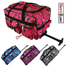 """24"""" 30"""" Floral Womens Girls Wheeled Holdall Maternity Hand Luggage Bag Suitcase"""