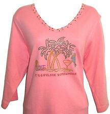 """3/4 Sleeves pink Cotton Top  rhinestone """"it's 5 O'clock somewhere"""" size XS to 1X"""