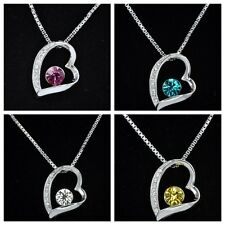 18K White Gold Plated Heart Pendant Necklace with Swarovski Crystal
