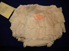 BABYS FRILLY KNICKERS BY PEX 0/6-18/24MTHS COTTON BLEND WHITE WITH ROSE