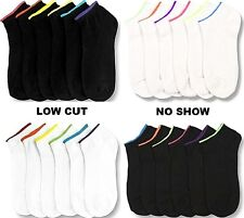 6 12 Pairs NEON Colors Tip Spandex Anklet NO SHOW LOW CUT SOCKS NEW Lot #70023
