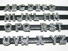 10 Rhinestone Letter Slide Charm Fit 8mm Watch Bands/Wristband Pick Your Letter
