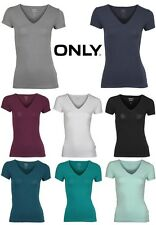 Only T-Shirt Live Love V-Neck ss Top Gr. XS, S, M, L, XL 8 Farben NEU