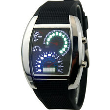 C6 US Mens LED Watch Turbo Blue White Flash Gift Sports Car Meter Dial ON SALE