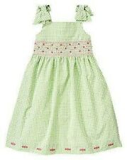 GYMBOREE EASTER CELEBRATIONS GREEN GINGHAM SMOCKED DRESSY DRESS 12 NWT