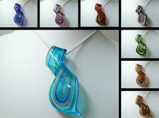 """Large Twist Murano Lampwork Glass Necklace with Silver Snake chain 18"""" ~ Pendant"""