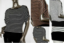 Women's Junior Beautiful Striped Off-Shoulder Knit Sweater Top New S / M / L