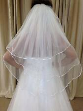 "Ivory/White 3 Tier Waist Length Bridal Wedding Veil 32"" With Crystals RibbonEdge"