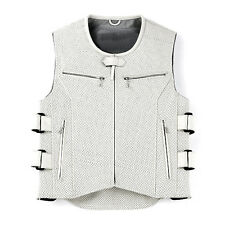 Mens Perforated White Leather Motorcycle Biker Vest W/Armor Brand New