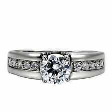 Danara: Classic 1.30ct Stainless Steel Russian Ice on Fire CZ Engagement Ring