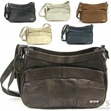 REAL LEATHER HAND BAG SHOULDER BAG SIDE MOBILE POCKET Tan/Browns/Cream/Blue 3743