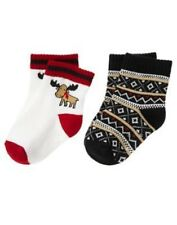 GYMBOREE HOLIDAY TRADITIONS MOOSE & STRIPE 2-PAIR OF BOYS SOCKS 3 6 12 18 24 NWT