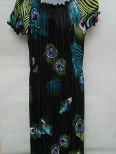Girls Black Peacock Feather Print Party Occasion Long Maxi Dress, Age: 9-10yrs