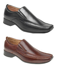 Mens Goor Leather Lined Black Brown Formal Slip On Squared Toe Shoes Size 6-12
