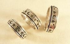 Celestial Spinner Ring Stars Moons 925 Sterling Silver Ring Choose Your Size R08
