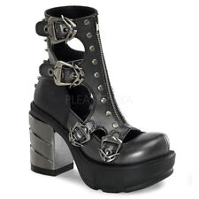 DEMONIA SINISTER-61 Chrome Heel Cyber Gothic Industrial Womens Goth Boots Shoes