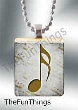 Custom Musical Note Scrabble Tile Pendant Jewelry Gold Note on Sheet Music W01