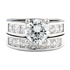 Stunning 5.4 carat Russian Ice on Fire CZ Wedding Ring Set 925 Sterling Silver