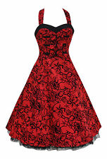 Alternative 50's Vintage Red Tattoo Flocked Party Prom H/Neck Dress New 8-18