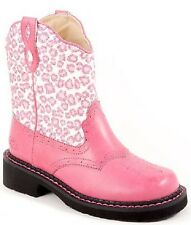 Kids Faux Leather Glitter Animal Print Cowboy Boots