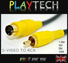 S-Video (SVHS) 4 Pin TV Out to Phono RCA Cable Lead Gold Plated 1.8m 3m 5m 10m