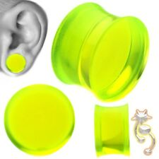 Green Double Flare Plugs Solid Ear Gauge Body Jewelry Tunnel Earlets Earrings