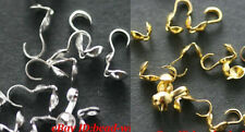 100pcs Silver/Golden Plated Metal Crimp End Beads Of Necklace