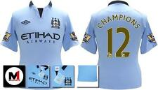 *12 / 13 - MAN CITY HOME SS + CHAMP PATCHES / CHAMPIONS 12 = KIDS & JUNIOR SIZE*