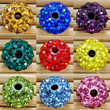 10Pcs Clay Disco Round Crystal Glass Spacer Beads Many Color To Choose