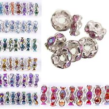 100pcs Round Crystal Rhinestone Findings Diy Beads Spacer 6mm AB Color