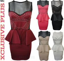 NEW LADIES MESH INSERT STUD DETAIL PEPLUM DRESS MINI GOING OUT PARTY DRESS 8-14