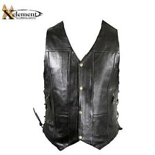 Nwt Men's Xelement Biker 10 Pocket Premium Black Leather Vest Sz M-4XL