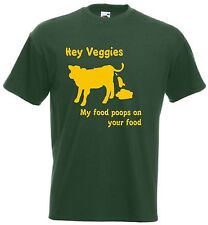 Hey Veggies t shirt - Funny t-shirt comic cow poo meat eat game vegetarian beef